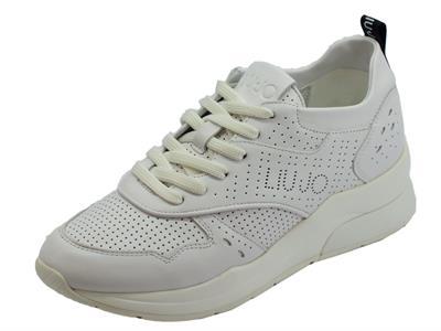 Articolo Sneakers Karlie LIU-JO per donna in pelle bianca zeppa alta