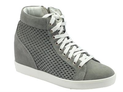 Sneakers Keys in camoscio laserato grigio