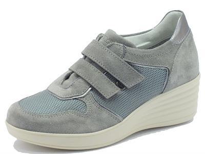 Articolo Sneakers Keys per donna in camoscio grigio doppio velcro