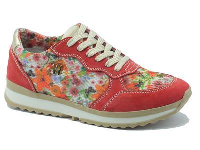 Sneakers Melluso Walk in camoscio corallo e tessuto multicolore