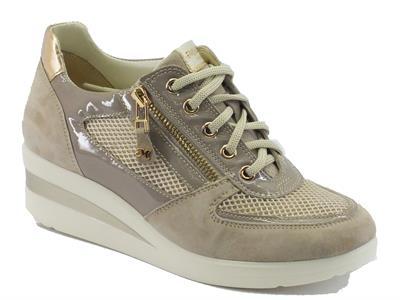 Sneakers Melluso Walk in nabuk  e vernice colore corda