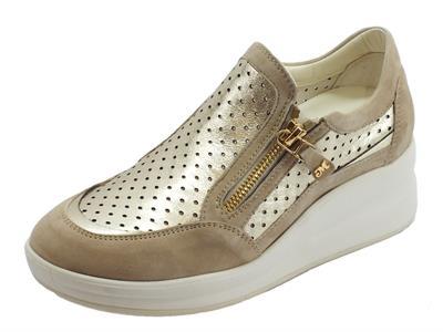 Articolo Sneakers Melluso Walk in pelle e camoscio colore corda ed oro zeppa alta
