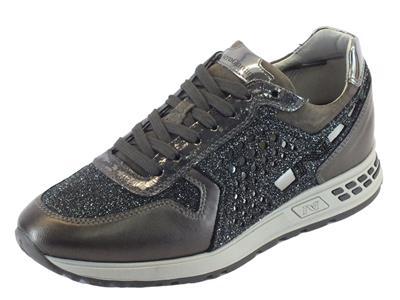 Sneakers NeroGiardini per donna in nappa antracite glitter nero argento
