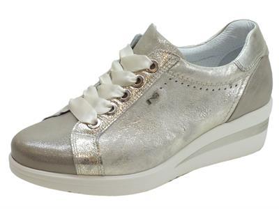 Articolo Sneakers NeroGiardini per donna in pelle champagne e pelle argento