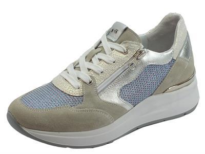 Sneakers NeroGiardini per donna in pelle tessuto argento bianco camoscio grigio