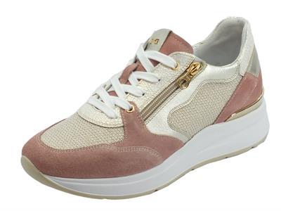 Articolo Sneakers NeroGiardini per donna in pelle tessuto platino bianco camoscio rosa