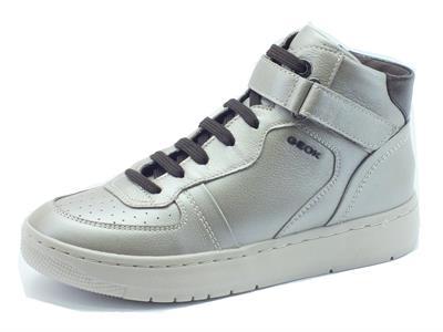 Articolo Sneakers per donna Geox in pelle argento con lacci e lampo