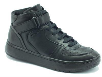Articolo Sneakers per donna Geox in pelle nera con lacci e lampo