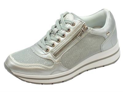 Articolo Sneakers per donna Mercante di Fiori in ecopelle argento e tessuto argento