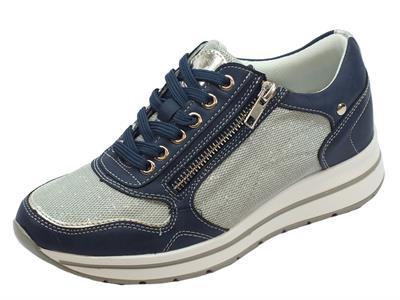Sneakers per donna Mercante di Fiori in ecopelle blue e tessuto argento