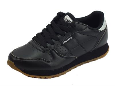 Articolo Sneakers Skechers Old School per donna in ecopelle nera
