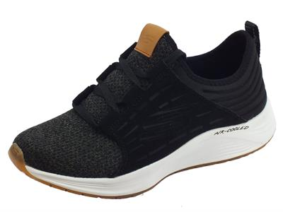 Sneakers Skechers SkyLine per donna in tessuto nero-bianco air-cooled