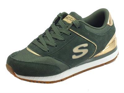 Articolo Sneakers Skechers SunLite Revival per donna in nabuk e tessuto verde oliva