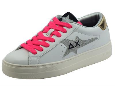 Articolo SUN68 Z41237 Bianco Argento Sneakers per Ragazza in pelle