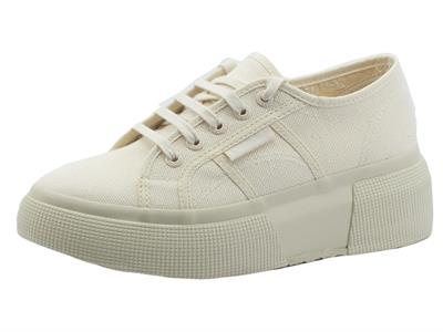 Articolo Superga 2287 Bubble Total Beige Raw Sneakers Donna in tessuto zeppa alta