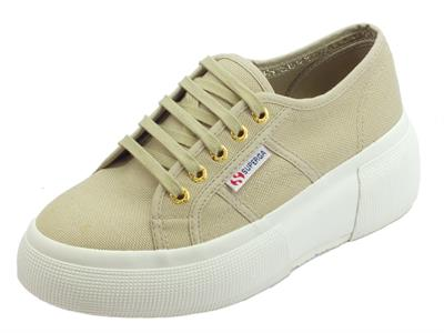 Superga 2287 COTW Taupe  sneakers sportive donna in tessuto beige zeppa bombata