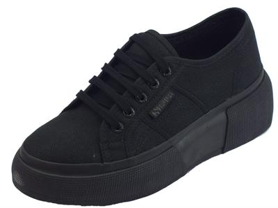 Superga 2287 COTW Total Black sneakers sportive donna in tessuto nero zeppa bombata