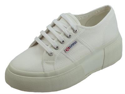 Superga 2287 COTW white  sneakers sportive donna in tessuto zeppa bombata