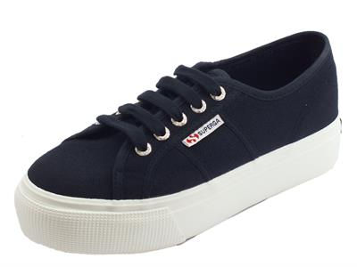 Articolo Superga 2790ACOTW Linea Up And Down Blue Graphite sneakers donna sportive in tessuto zeppa alta
