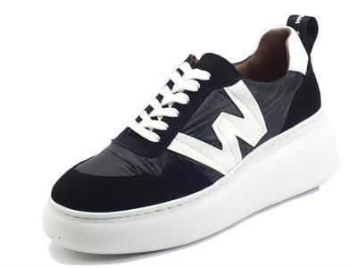 Articolo Wonders A-2605 Trend Negro Sneakers per Donna in tessuto tecnico e camoscio