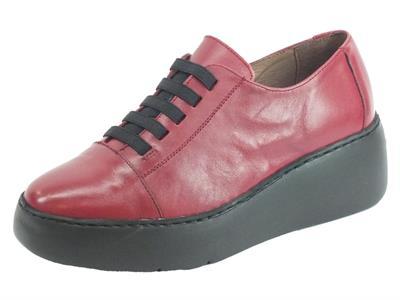 Articolo Wonders A-8338 Velvet Rubi Sneakers Donna in pelle rubino con allaccio rapido