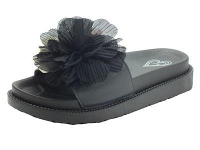 Articolo CAFèNOIR GFE930 Nero Ciabatte per Donna in ecopelle nera con fiore estetico