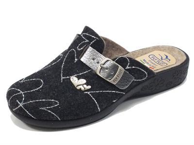 Articolo Ciabatta Fly Flot in lana cotta nera con sottopiede estraibile