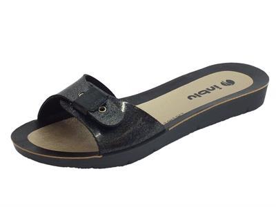 Articolo Ciabatta InBlu in plastica nera satinata con regolazione della calzata