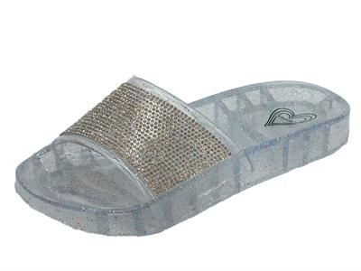 Articolo Ciabatte CafèNoir per donna in gomma trasparente e brillantini con zeppa bassa