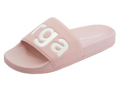 Articolo Ciabatte Superga per donna in gomma rosa con scritta bianca ideali per piscina