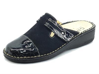 Articolo Cinzia Soft IM2020AH3 Bleu Pantofole per Donna in nabuk fondo shock-absorber