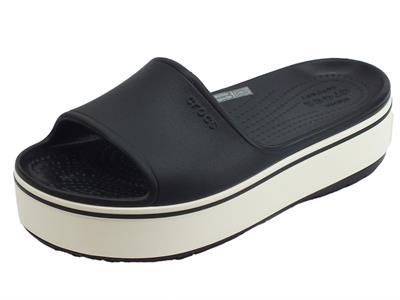 Crocs Platform slide black white ciabatte donna in gomma nera zeppa alta