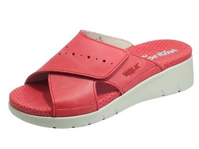 Melluso Walk 036003 Rosso Ciabatte per Donna in pelle con regolazione a strappo