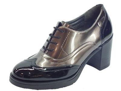 Articolo Cinzia Soft IAB252751Francesine con tacco alto in vernice perlata taupe e nero