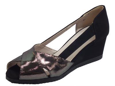 Cinzia Soft IAB022888 Diamante Nero Decoltè spuntato con zeppa per Donna ecocamoscio nero