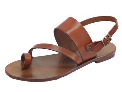Infradito artigianali Mercanti Fiorentini in pelle tuffata cuoio fondo cuoio tacco basso