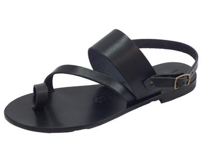 Articolo Infradito artigianali Mercanti Fiorentini in pelle tuffata nera fondo cuoio tacco basso