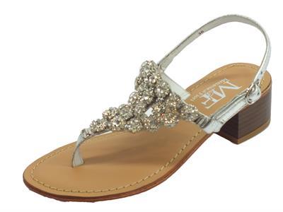 Infradito Mercanti di Fiori modello Capri in pelle argento con brillanti argento