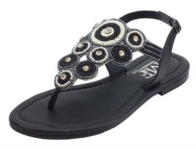 Articolo Infradito Mercanti di Fiori modello Capri in pelle nera con perline e brillanti argento