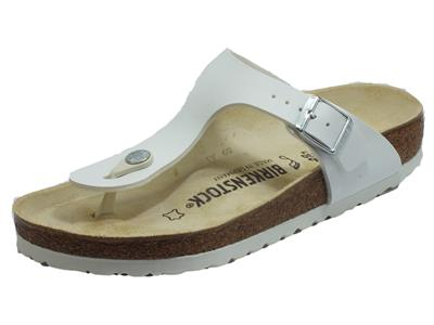 Birkenstock 0043731 Gizeh BS White Infradito Donna in ecopelle bianca sottopiede in pelle