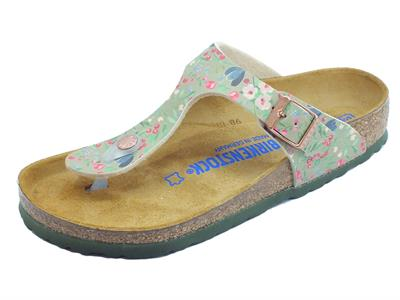 Birkenstock Gizeh BS Meadow Flowers Khaki Black infradito multicolore donna
