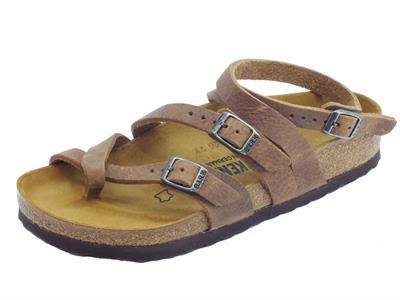 Articolo Infradito Birkenstock Seres per donna in pelle marrone antichizzato allaccio alla caviglia