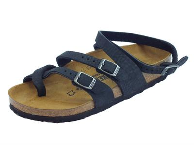 Articolo Infradito Birkenstock Seres per donna in pelle nera antichizzata allaccio alla caviglia