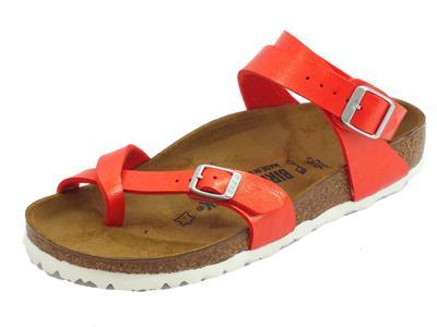 Infradito Birkenstock Yara per donna rosso allaccio alla caviglia