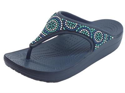 Infradito Crocs per donna Cloane Beaded Flip Navy in gomma blu