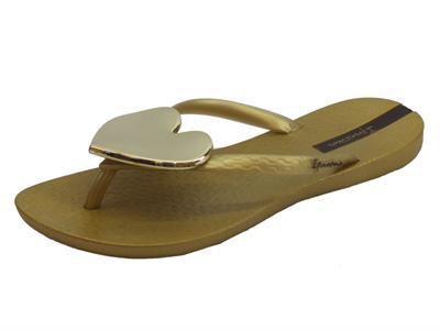 Infradito Ipanema Maxi Fascion per donna in caucciù oro con cuore cromato oro