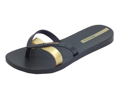Ipanema 81805 Kirei Fem White Gold infradito in gomma nero e gold