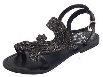Articolo CafèNOIR sandali infra-alluce per donna con pietrine nere e fumo motivo salamandra