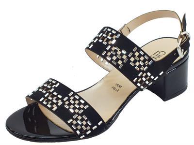 Articolo Cinzia Soft sandali eleganti per donna neri traforati con pietre argento