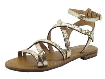 Articolo Geox D15LXG Sozy Metal Gold Sandali per Donna in pelle laminata satinata oro tacco basso